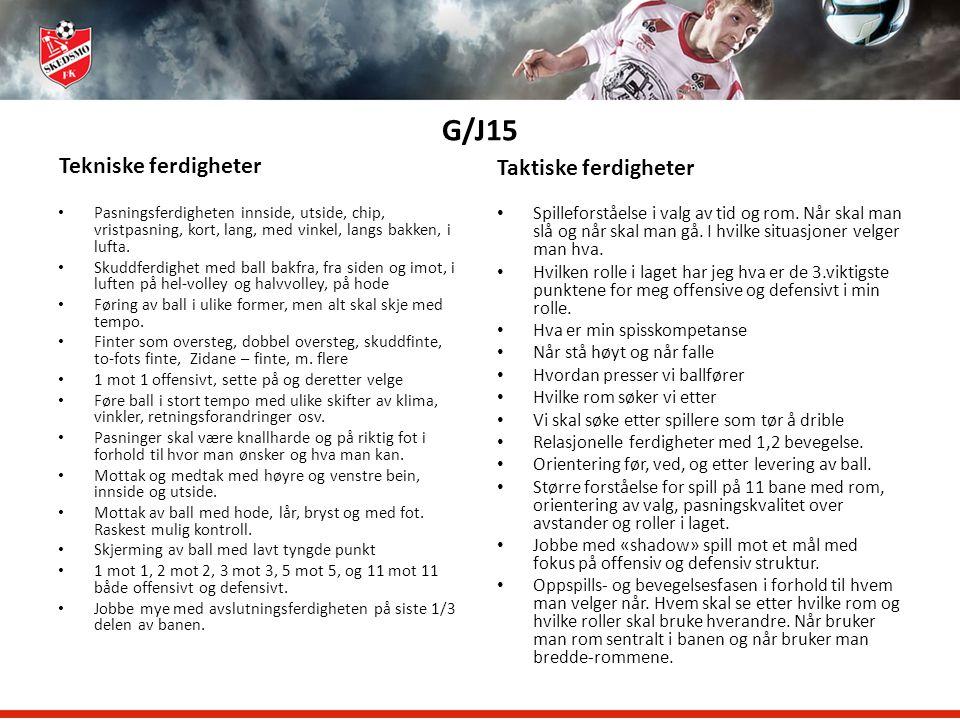 G/J15 Tekniske ferdigheter Taktiske ferdigheter