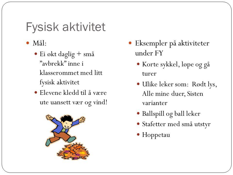 Fysisk aktivitet Mål: Eksempler på aktiviteter under FY