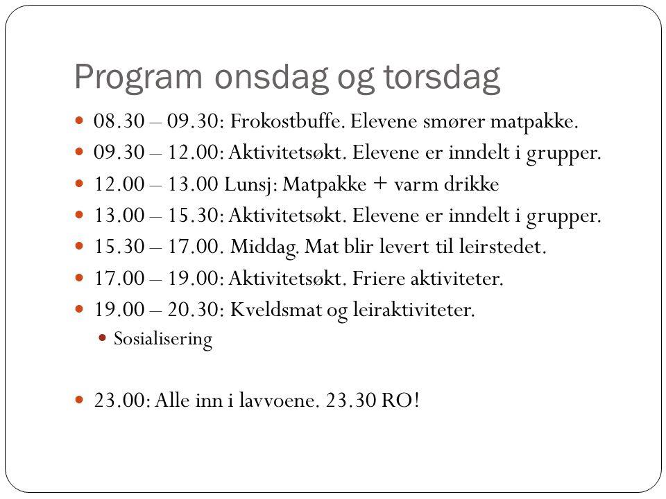 Program onsdag og torsdag