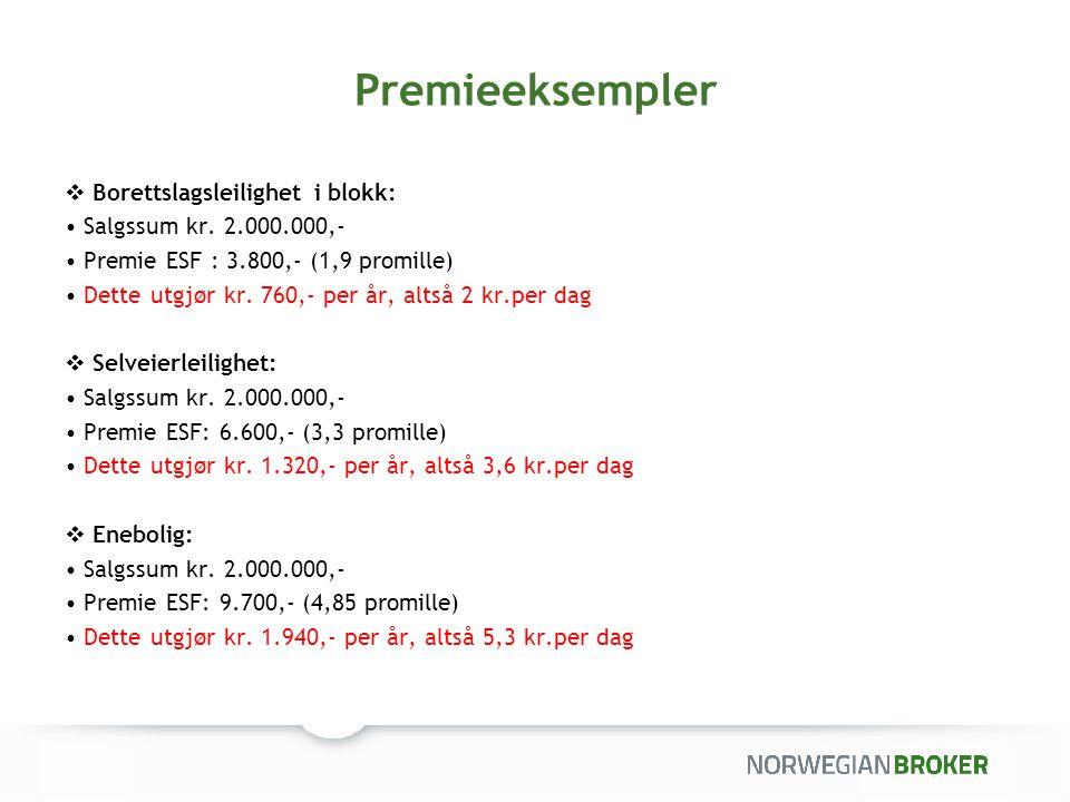 Premieeksempler Borettslagsleilighet i blokk: Salgssum kr. 2.000.000,-