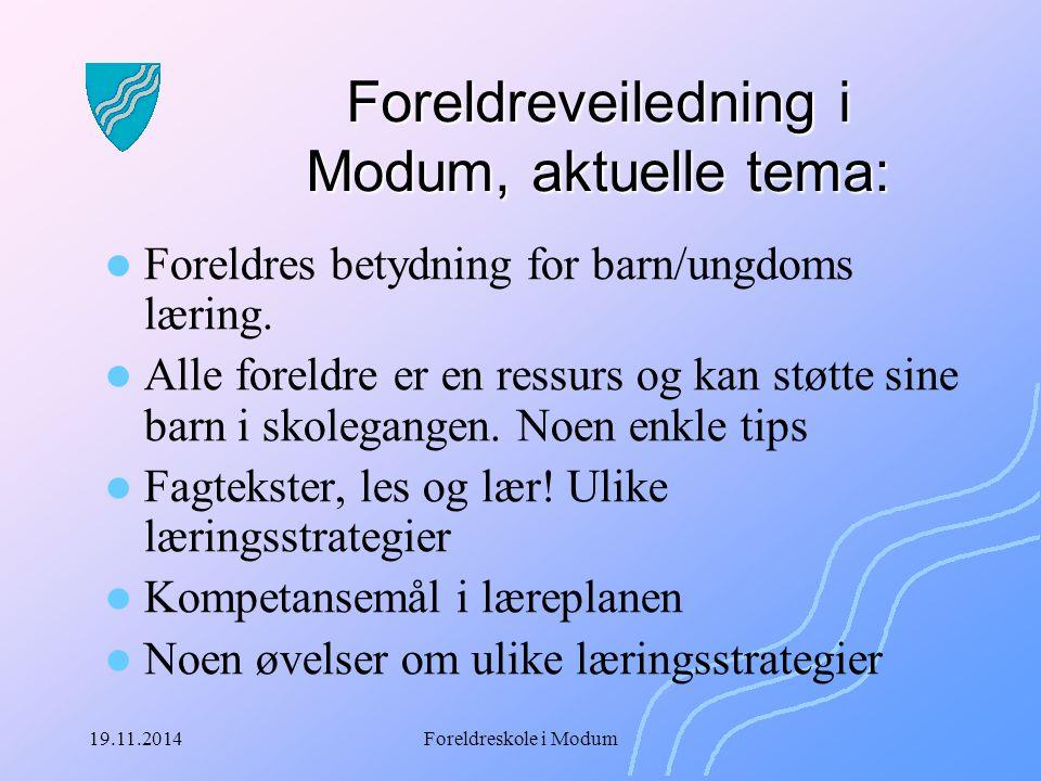 Foreldreveiledning i Modum, aktuelle tema: