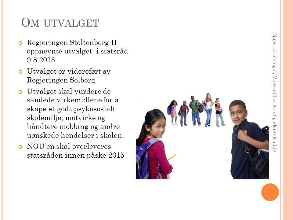 Om utvalget Regjeringen Stoltenberg II oppnevnte utvalget i statsråd 9.8.2013. Utvalget er videreført av Regjeringen Solberg.