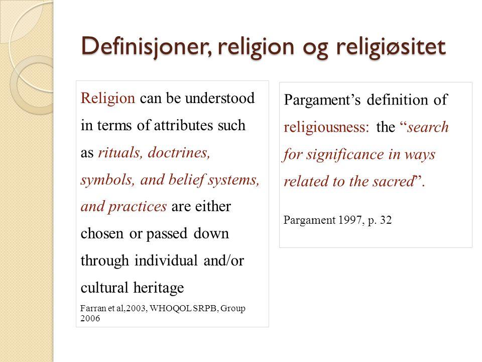 Definisjoner, religion og religiøsitet