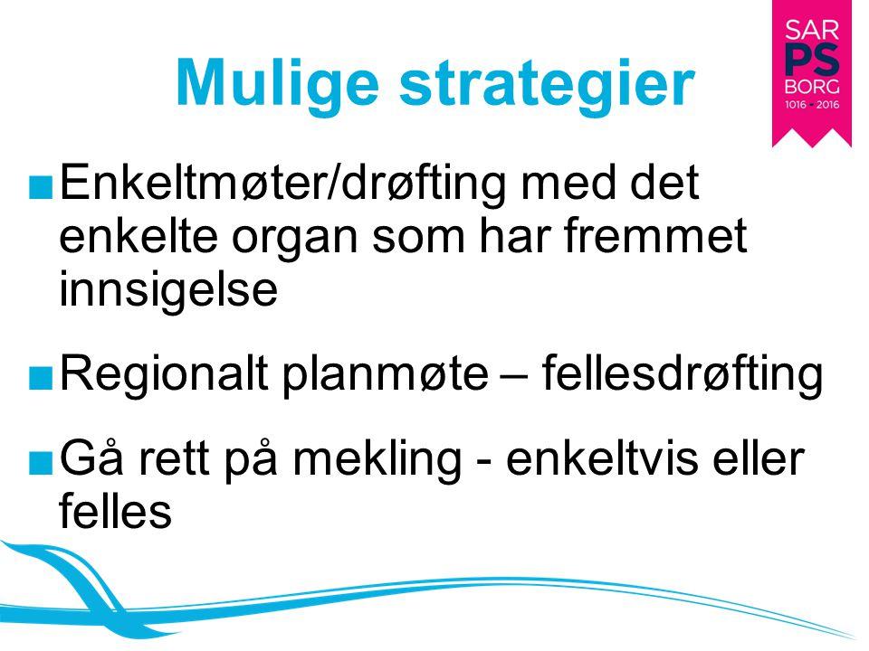 Mulige strategier Enkeltmøter/drøfting med det enkelte organ som har fremmet innsigelse. Regionalt planmøte – fellesdrøfting.