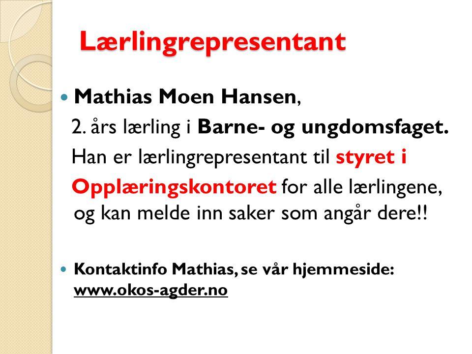 Lærlingrepresentant Mathias Moen Hansen,