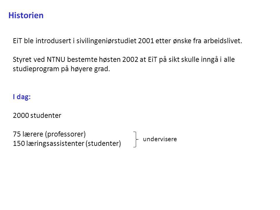 Historien EiT ble introdusert i sivilingeniørstudiet 2001 etter ønske fra arbeidslivet.