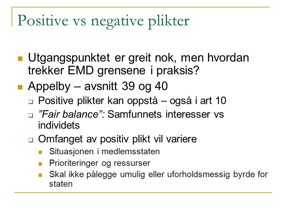 Positive vs negative plikter