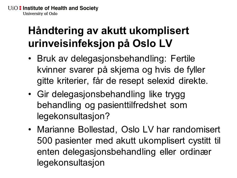 Nye prosjekter 2 Sigurd Danielsen: Etnisitet hos leger og pasienter og utdanningssted som prediktor for antibiotikabruk, nasjonal kohort 2008.