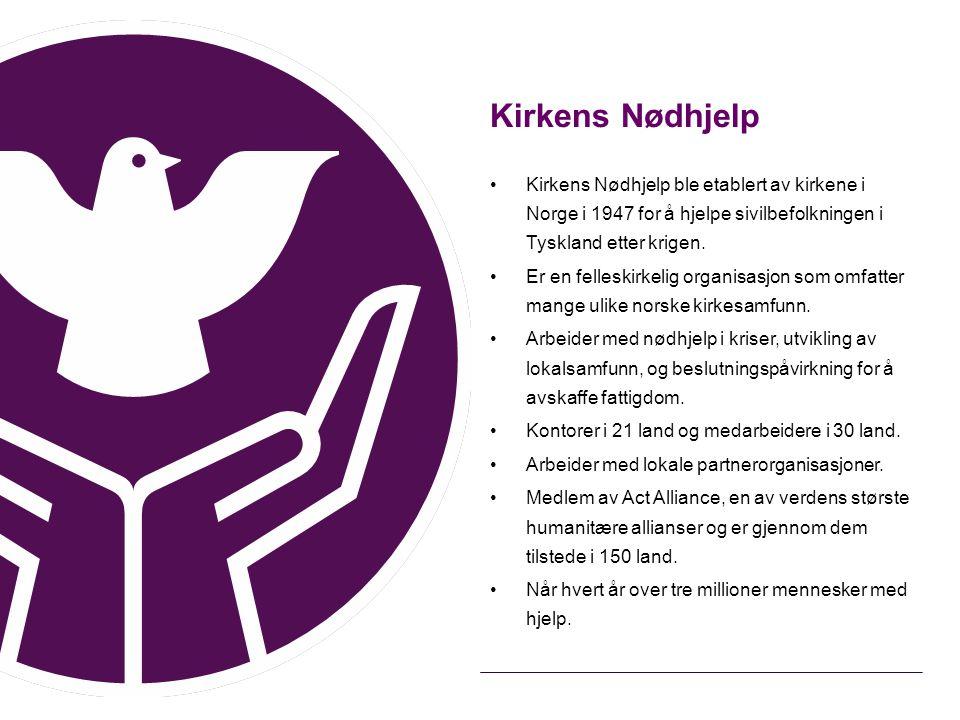 Kirkens Nødhjelp Kirkens Nødhjelp ble etablert av kirkene i Norge i 1947 for å hjelpe sivilbefolkningen i Tyskland etter krigen.