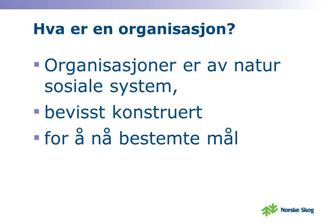 Organisasjoner er av natur sosiale system, bevisst konstruert