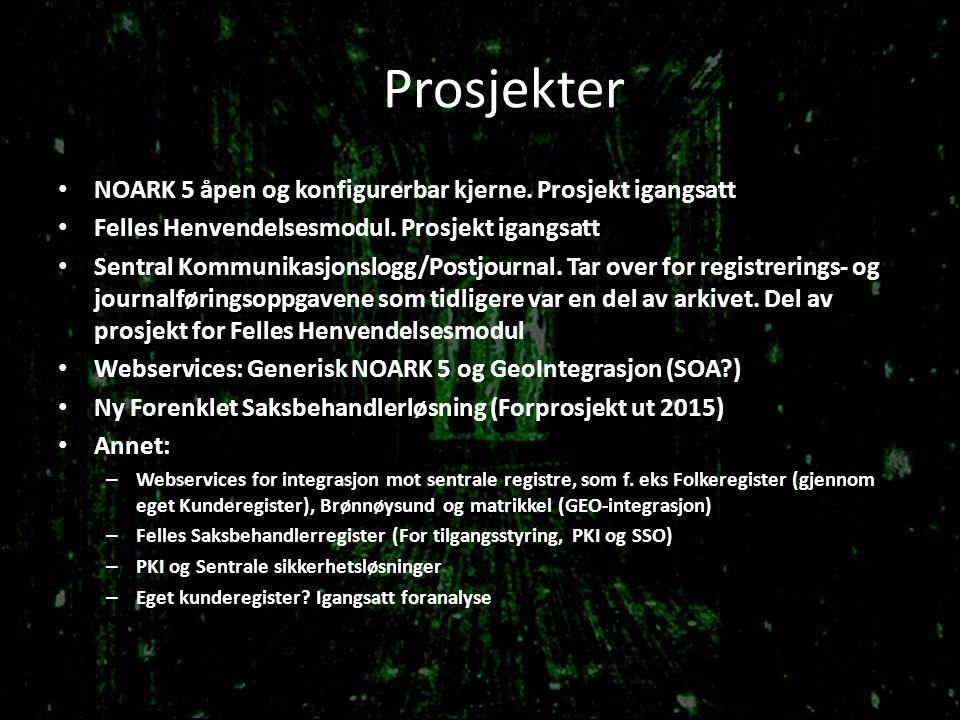 Prosjekter NOARK 5 åpen og konfigurerbar kjerne. Prosjekt igangsatt