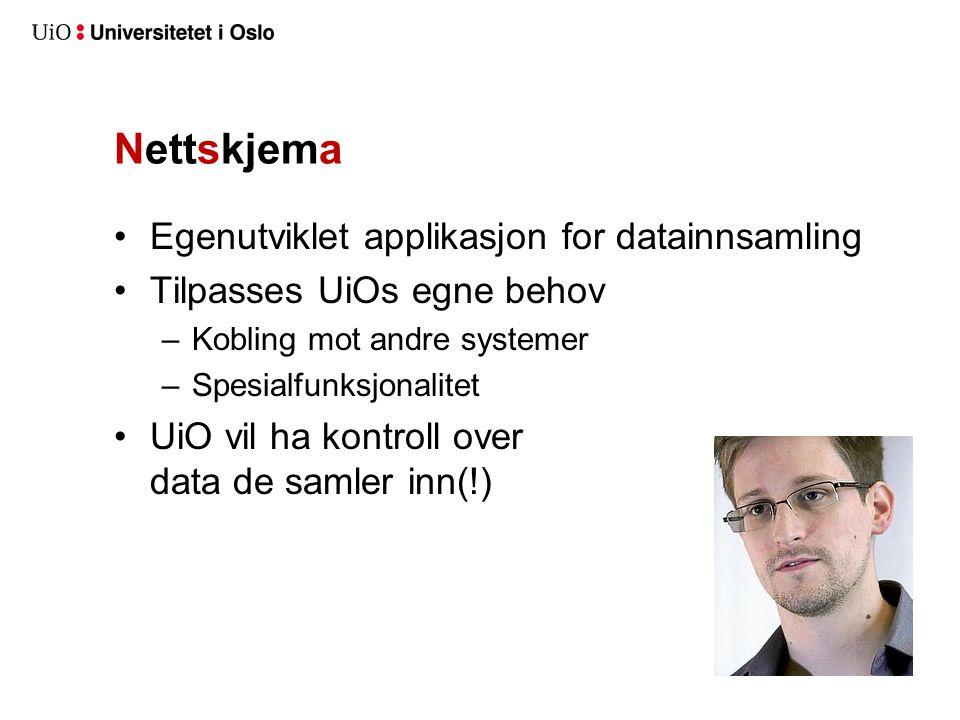 Nettskjema Egenutviklet applikasjon for datainnsamling