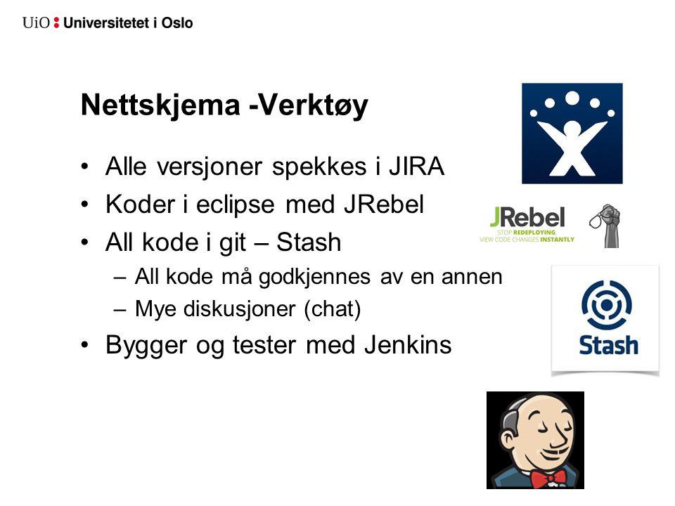 Nettskjema -Verktøy Alle versjoner spekkes i JIRA