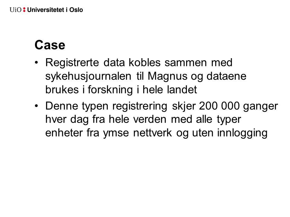 Case Registrerte data kobles sammen med sykehusjournalen til Magnus og dataene brukes i forskning i hele landet.