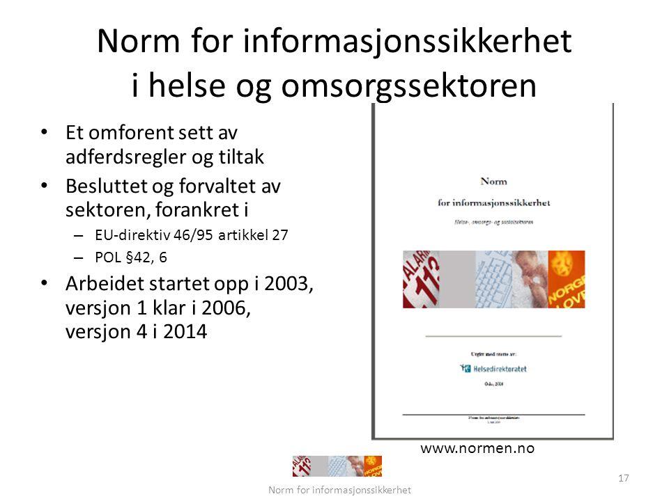 Norm for informasjonssikkerhet i helse og omsorgssektoren