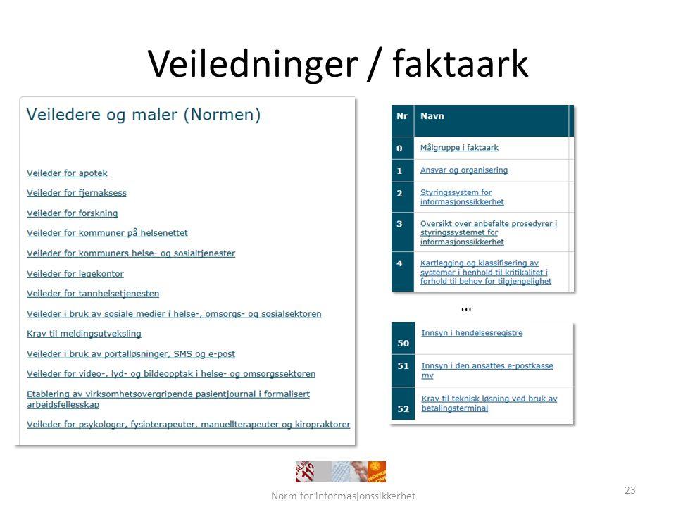 Veiledninger / faktaark