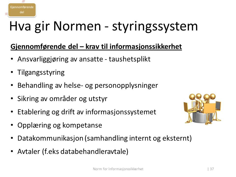 Hva gir Normen - styringssystem