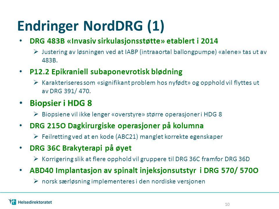 Endringer NordDRG (1) Biopsier i HDG 8