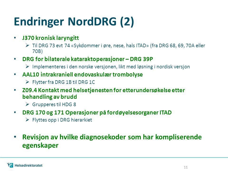 Endringer NordDRG (2) J370 kronisk laryngitt. Til DRG 73 evt 74 «Sykdommer i øre, nese, hals ITAD» (fra DRG 68, 69, 70A eller 70B)
