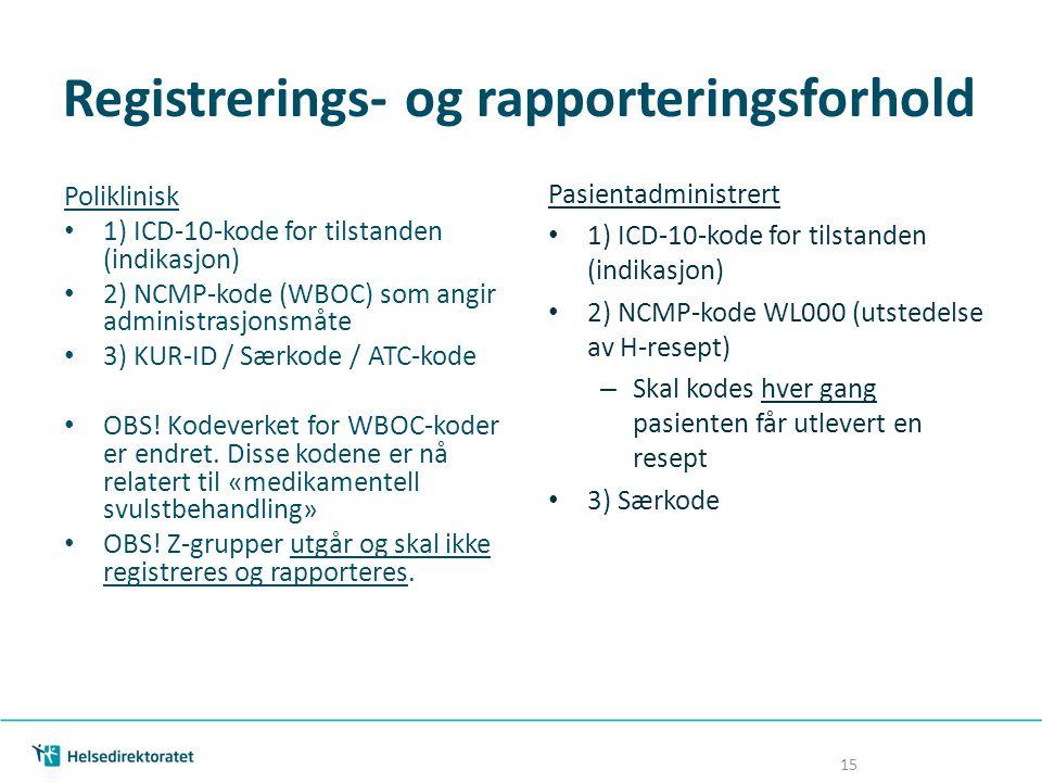 Registrerings- og rapporteringsforhold