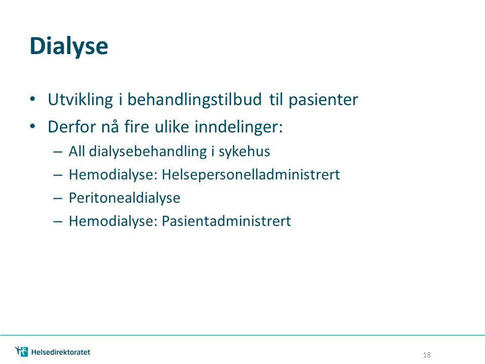 Dialyse Utvikling i behandlingstilbud til pasienter