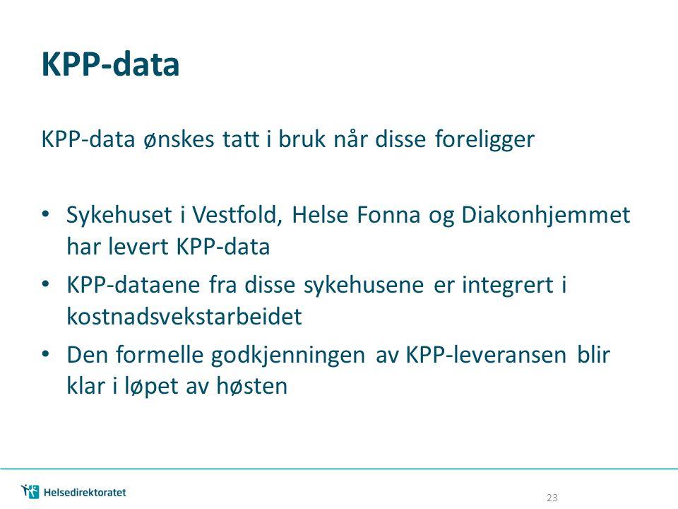 KPP-data KPP-data ønskes tatt i bruk når disse foreligger