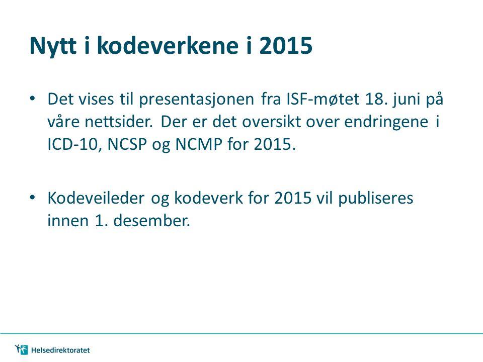 Nytt i kodeverkene i 2015
