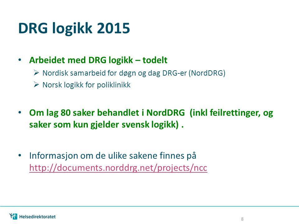 DRG logikk 2015 Arbeidet med DRG logikk – todelt