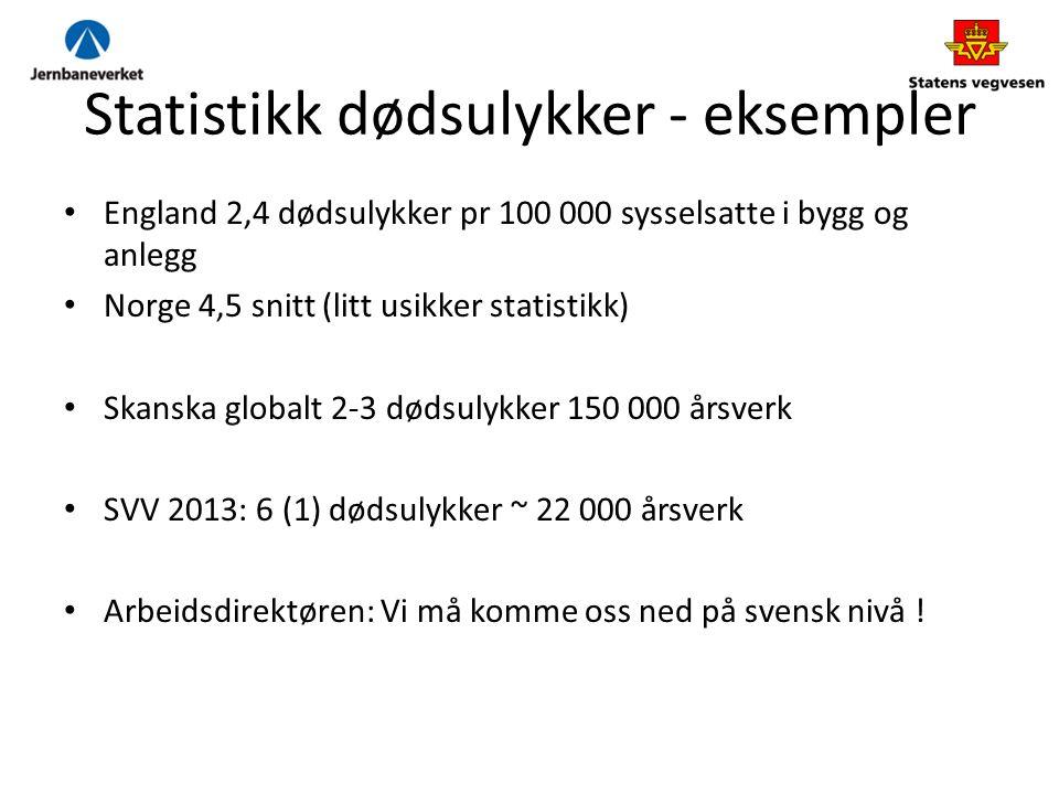 Statistikk dødsulykker - eksempler