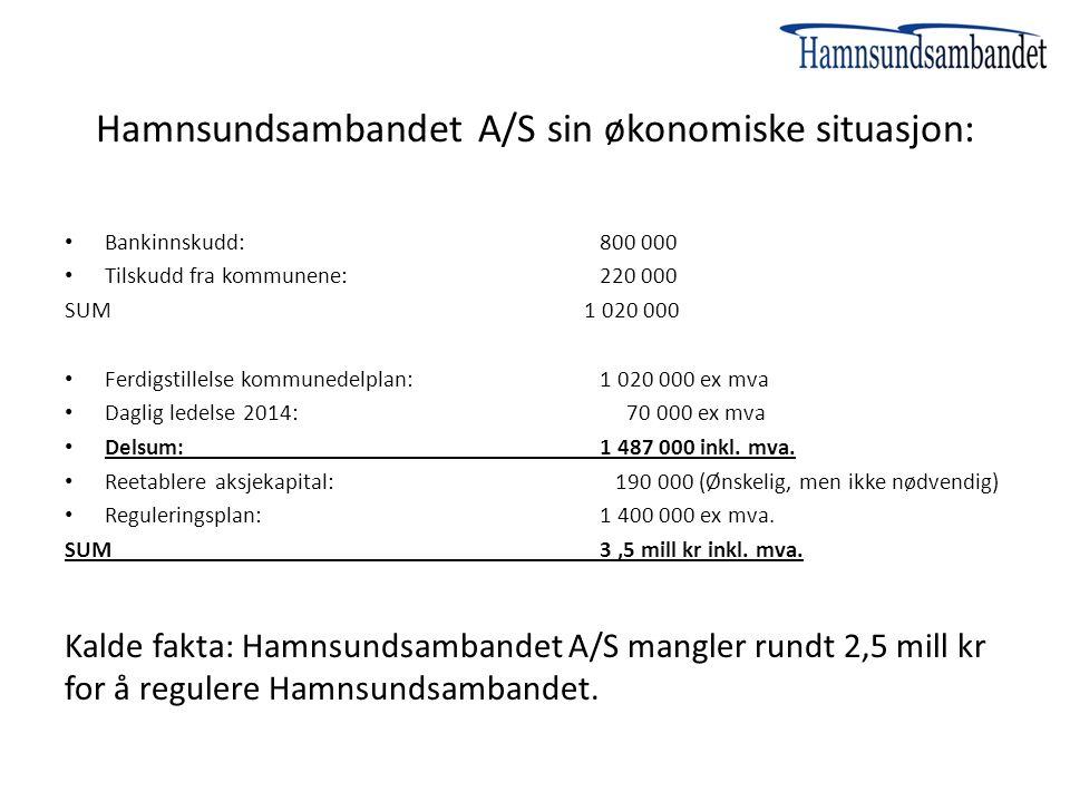 Hamnsundsambandet A/S sin økonomiske situasjon: