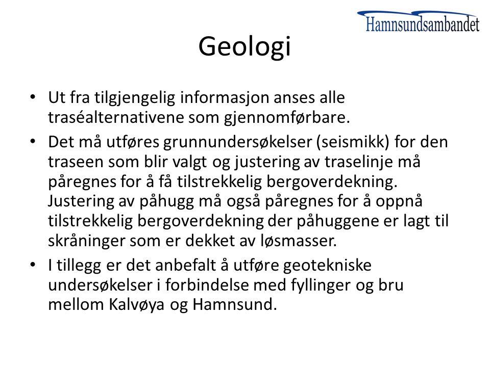 Geologi Ut fra tilgjengelig informasjon anses alle traséalternativene som gjennomførbare.