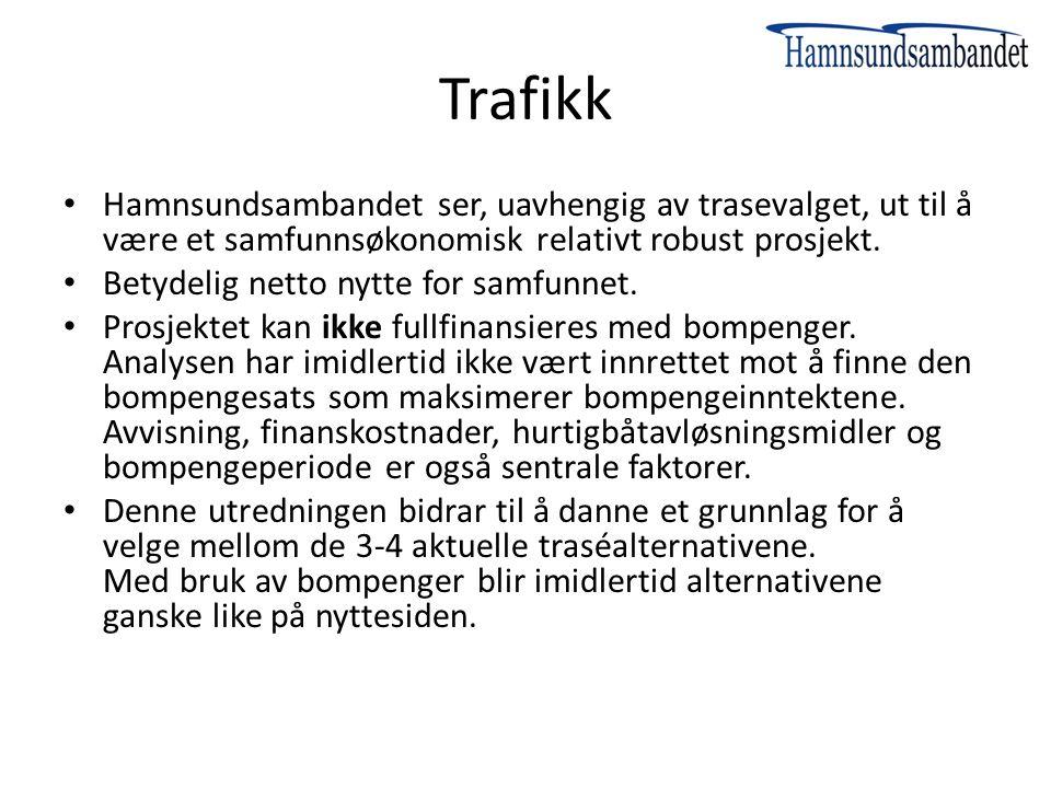 Trafikk Hamnsundsambandet ser, uavhengig av trasevalget, ut til å være et samfunnsøkonomisk relativt robust prosjekt.