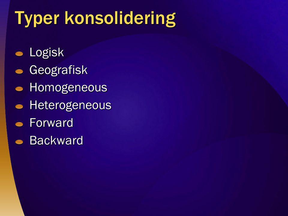 Typer konsolidering Logisk Geografisk Homogeneous Heterogeneous