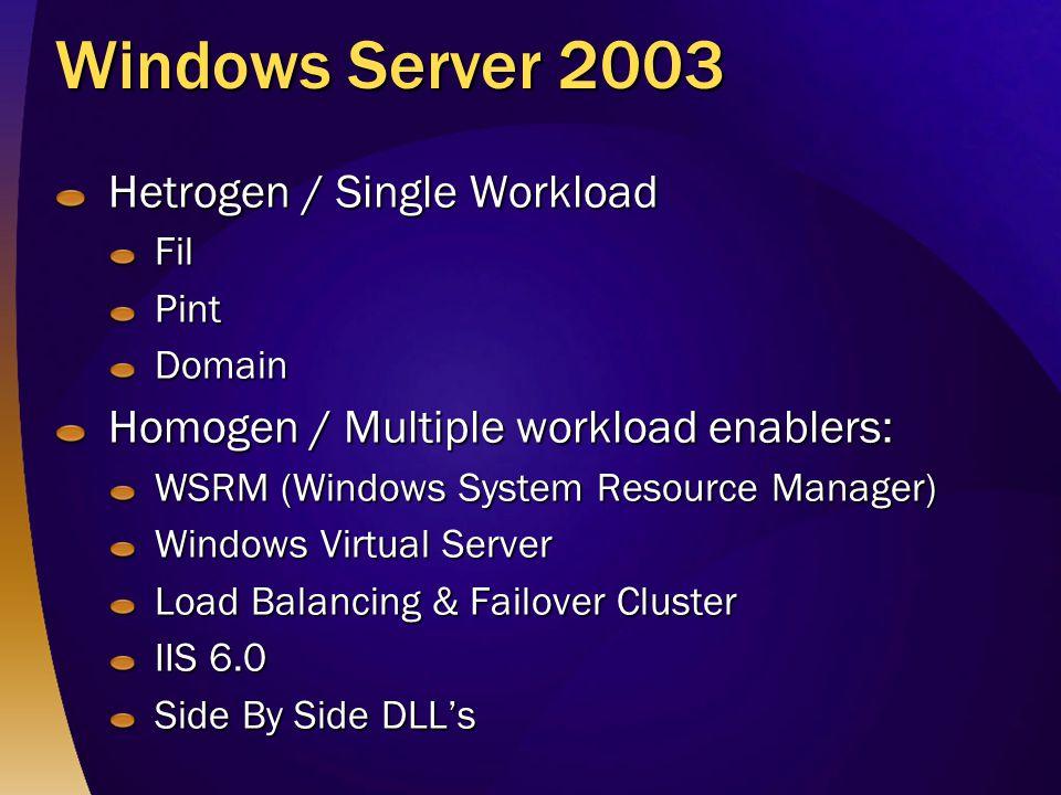 Windows Server 2003 Hetrogen / Single Workload