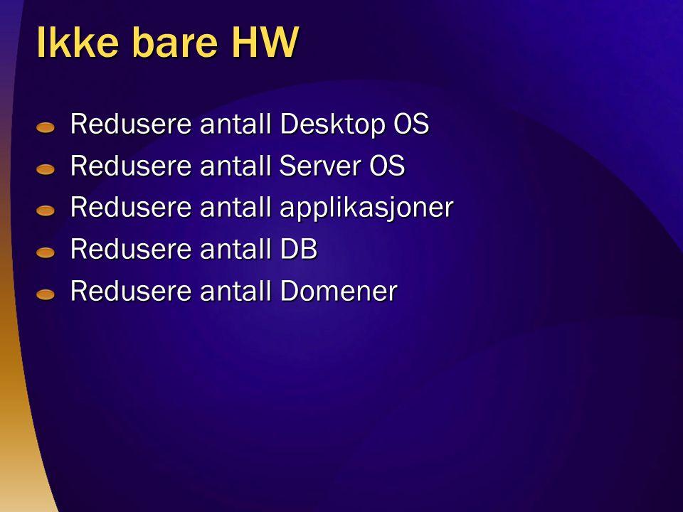 Ikke bare HW Redusere antall Desktop OS Redusere antall Server OS