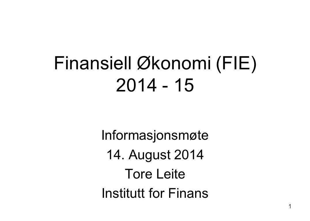 Finansiell Økonomi (FIE) 2014 - 15