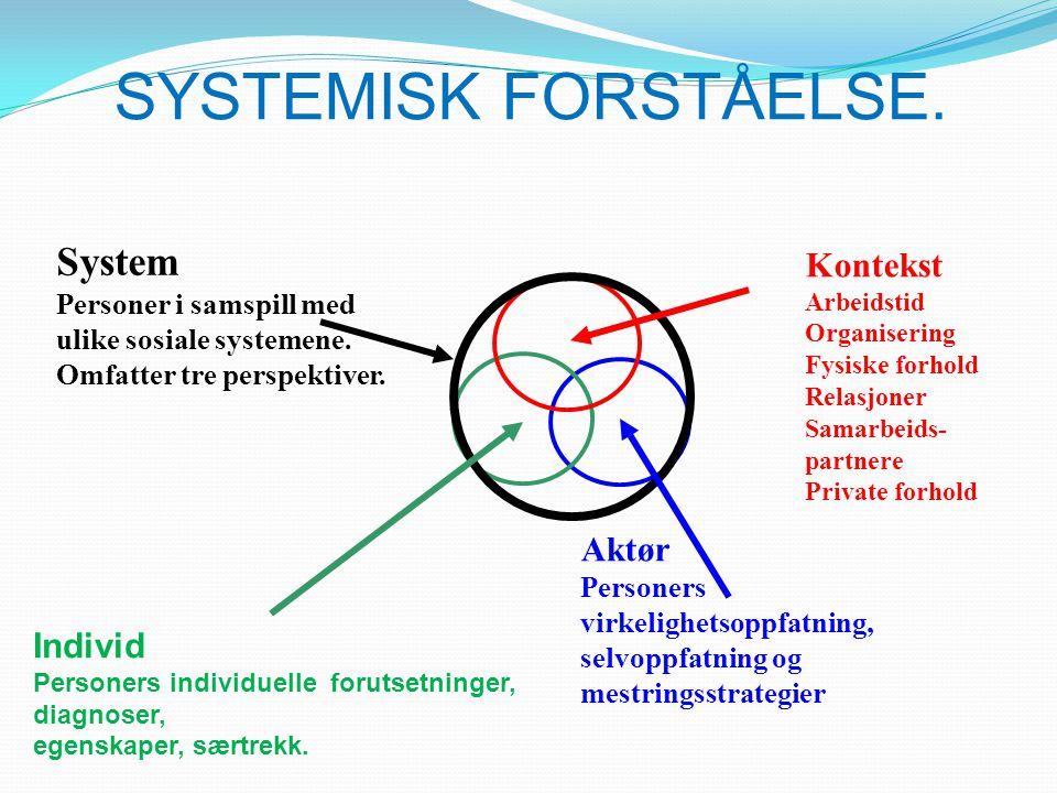 SYSTEMISK FORSTÅELSE. System Kontekst Aktør Individ