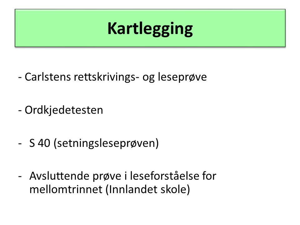 Kartlegging - Carlstens rettskrivings- og leseprøve - Ordkjedetesten