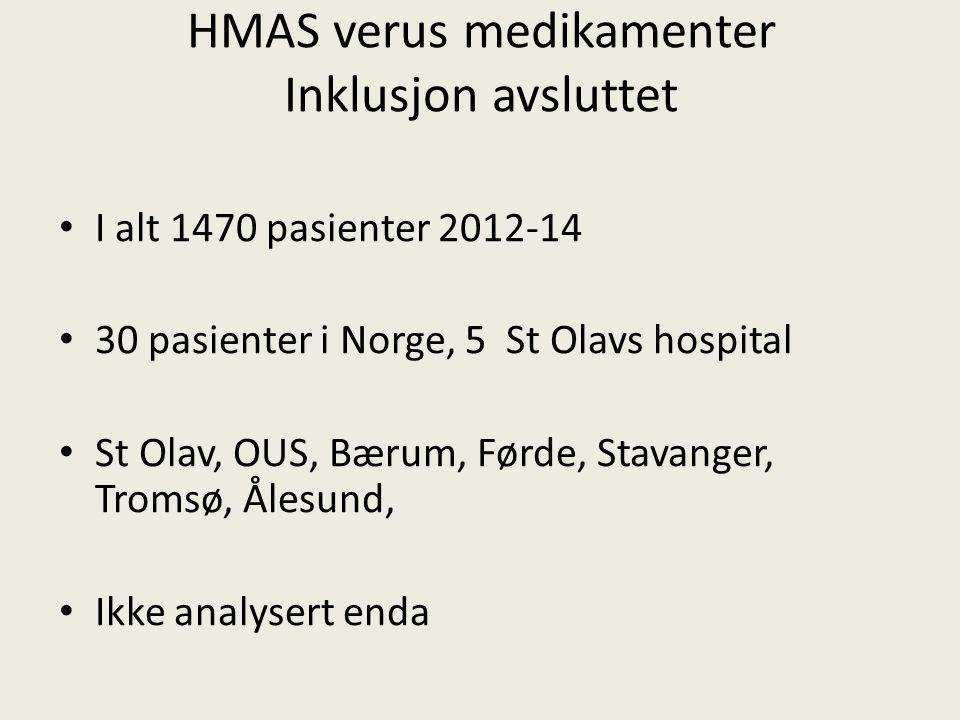 HMAS verus medikamenter Inklusjon avsluttet