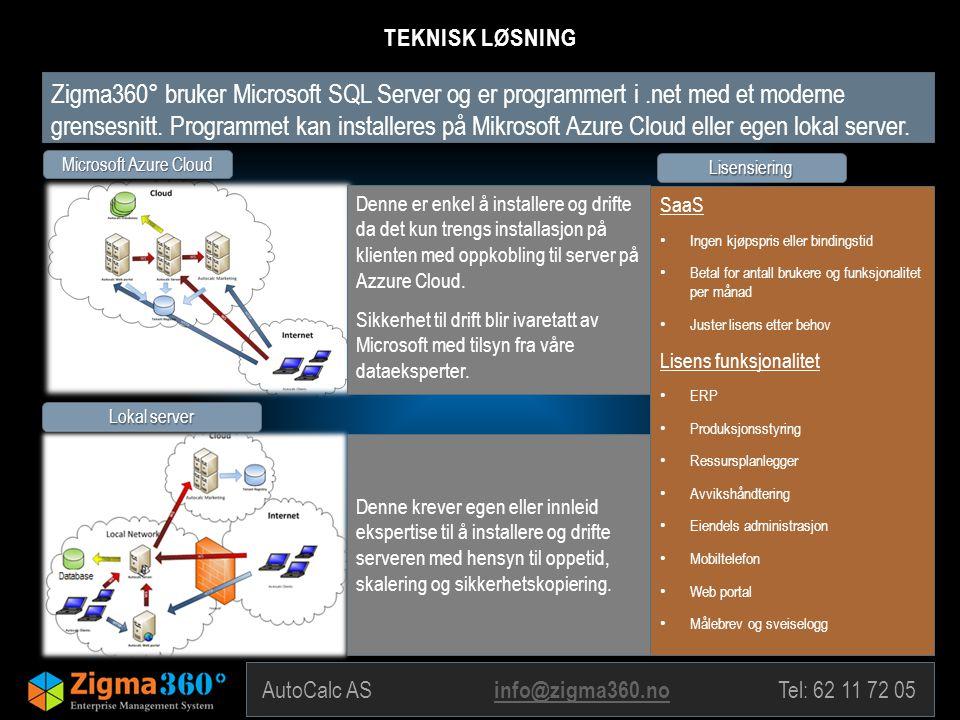 AutoCalc AS info@zigma360.no Tel: 62 11 72 05