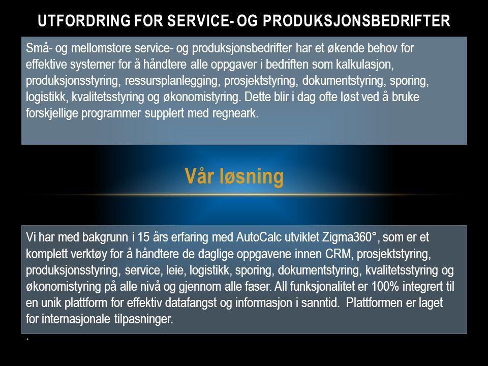Utfordring for SERVICE- OG Produksjonsbedrifter