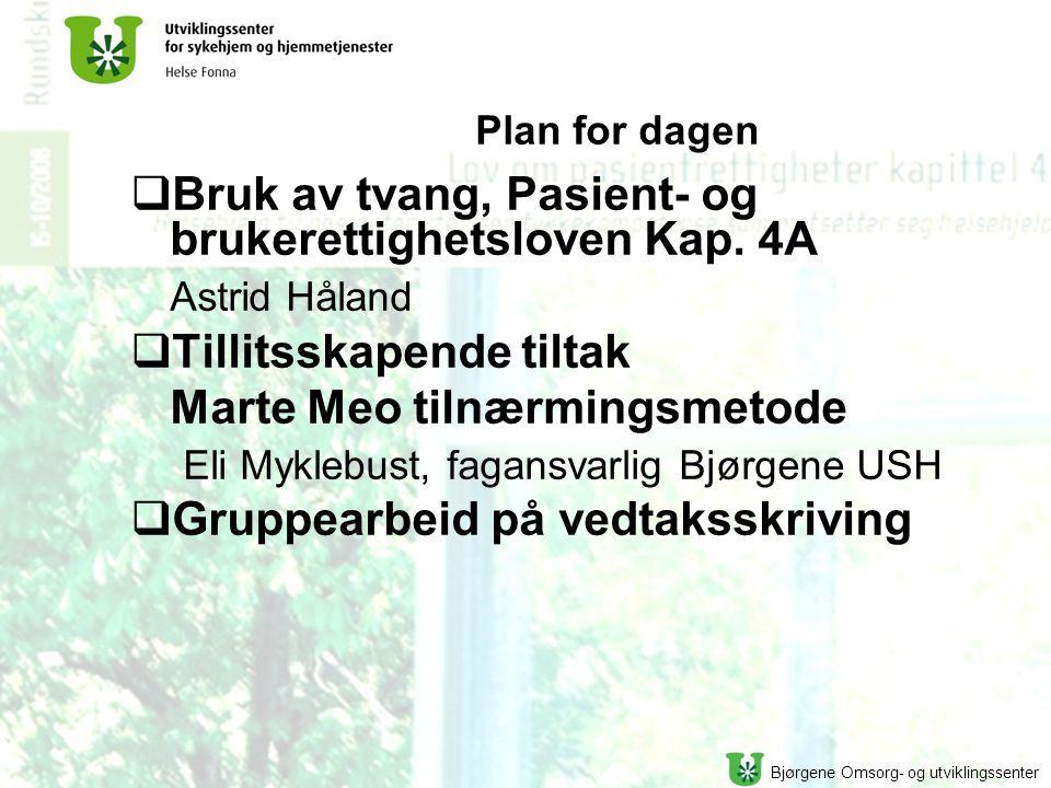 Bruk av tvang, Pasient- og brukerettighetsloven Kap. 4A Astrid Håland