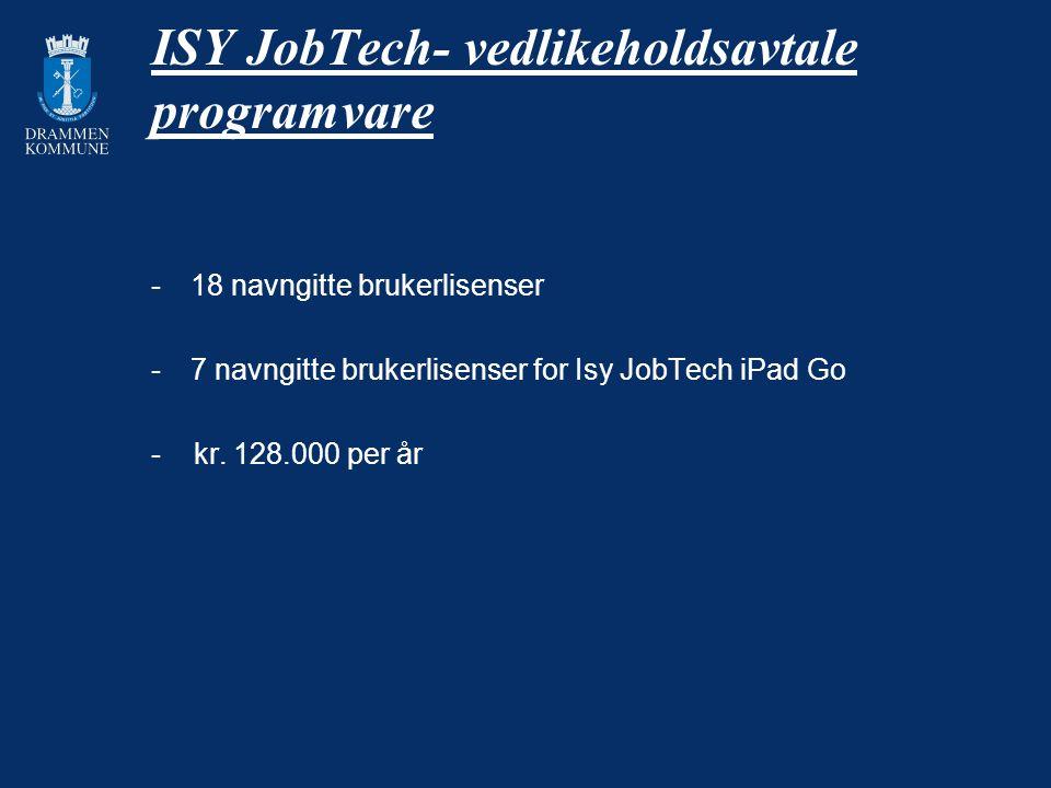 ISY JobTech- vedlikeholdsavtale programvare