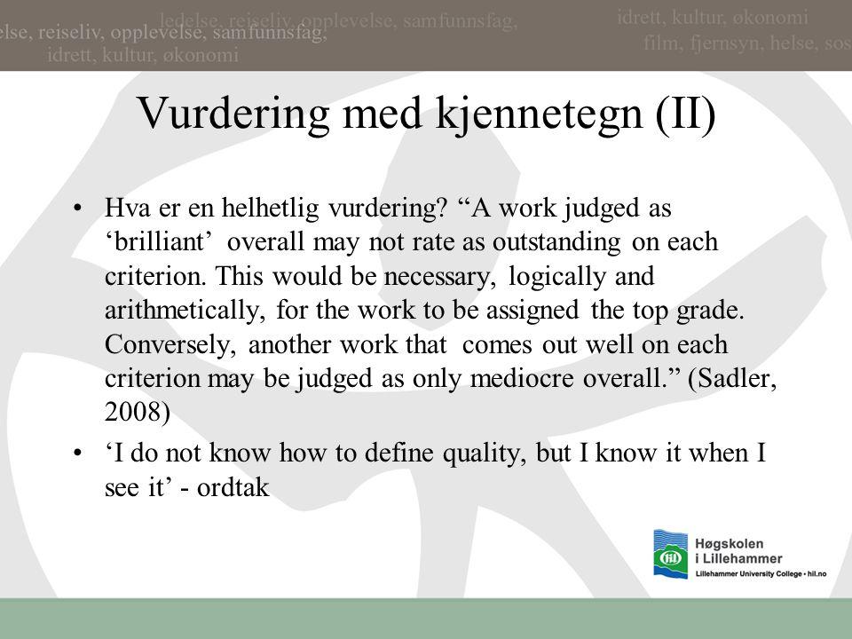 Vurdering med kjennetegn (II)