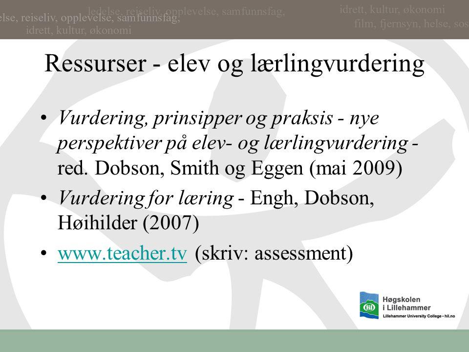 Ressurser - elev og lærlingvurdering