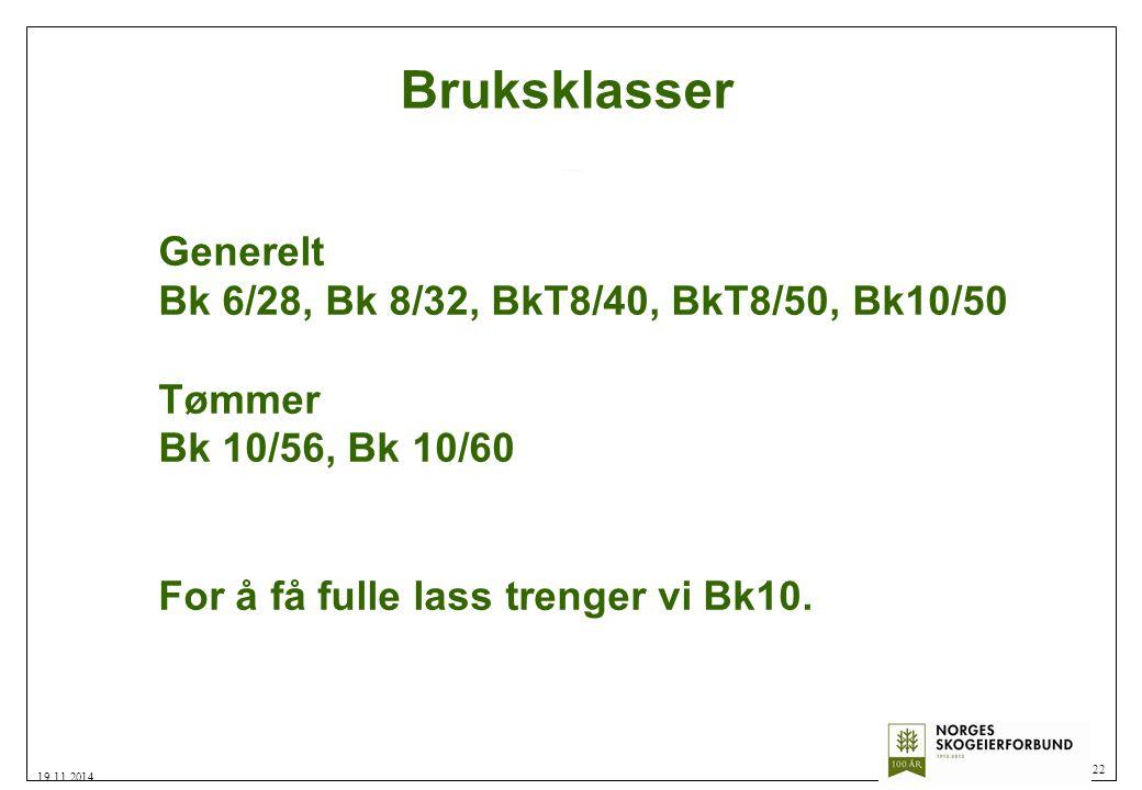 Bruksklasser Generelt Bk 6/28, Bk 8/32, BkT8/40, BkT8/50, Bk10/50