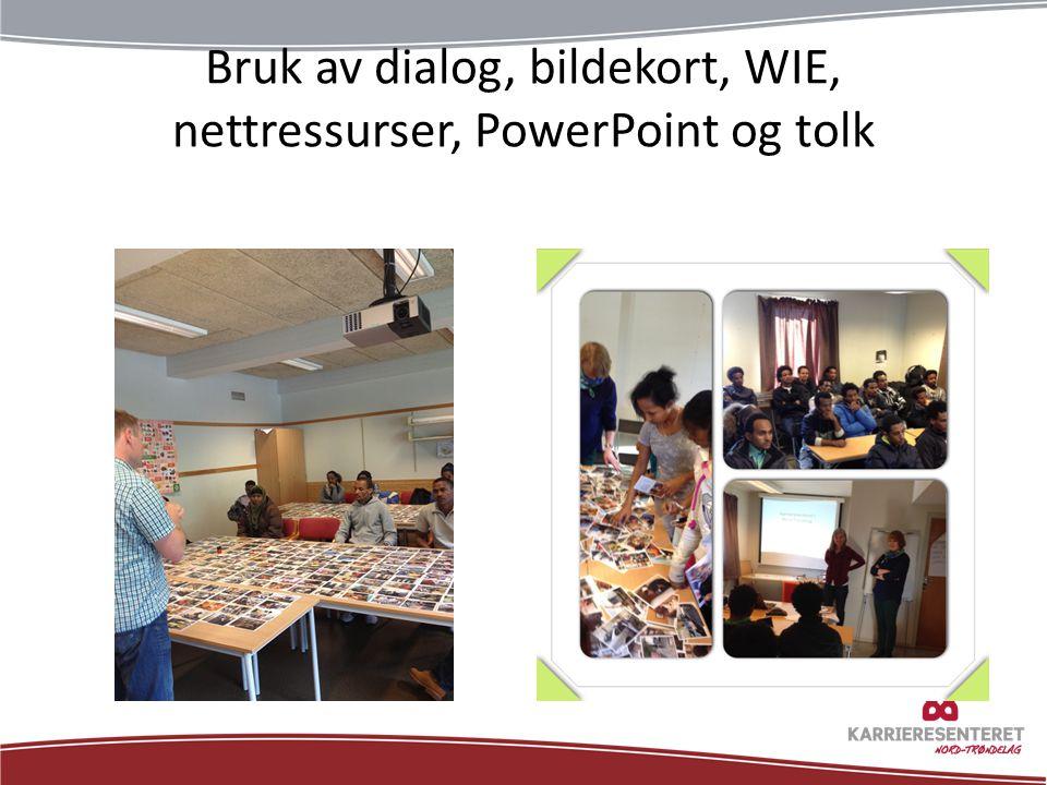 Bruk av dialog, bildekort, WIE, nettressurser, PowerPoint og tolk