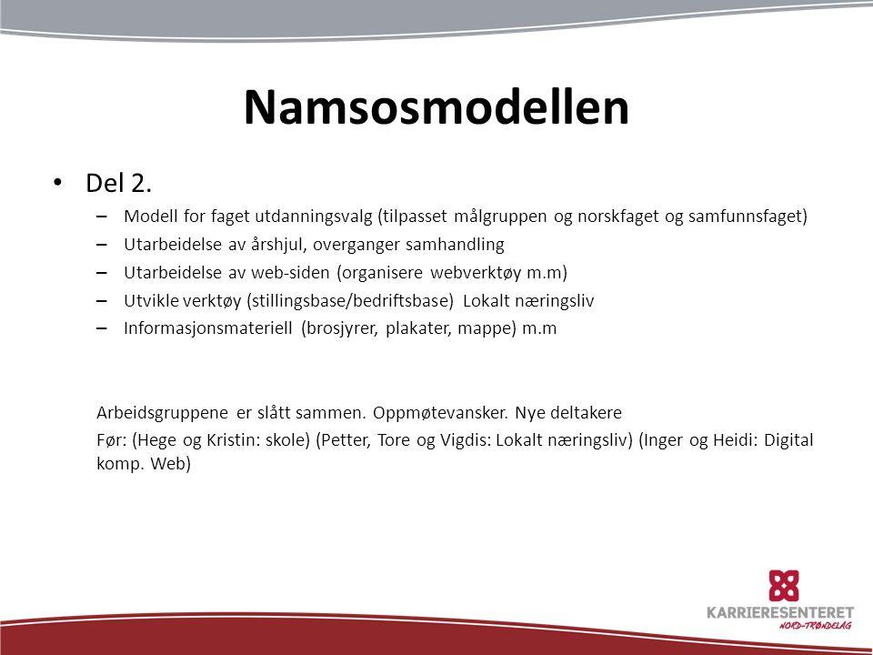 Namsosmodellen Del 2. Modell for faget utdanningsvalg (tilpasset målgruppen og norskfaget og samfunnsfaget)