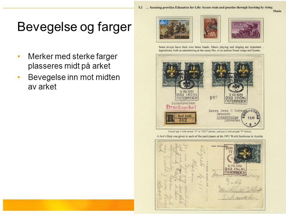 Bevegelse og farger Merker med sterke farger plasseres midt på arket