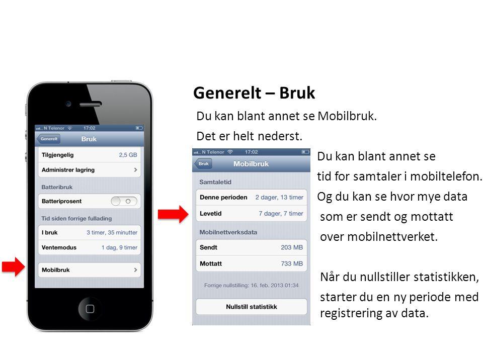 Generelt – Bruk Du kan blant annet se Mobilbruk. Det er helt nederst.